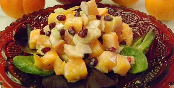 Persimmon Pomegranate Fruit Salad Recipe — Dishmaps