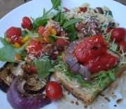Toasted Spelt Open-Faced Sandwich With Mediterranean Orzo