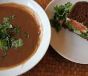 Spicy Black Bean Soup & Hummus Sandwich