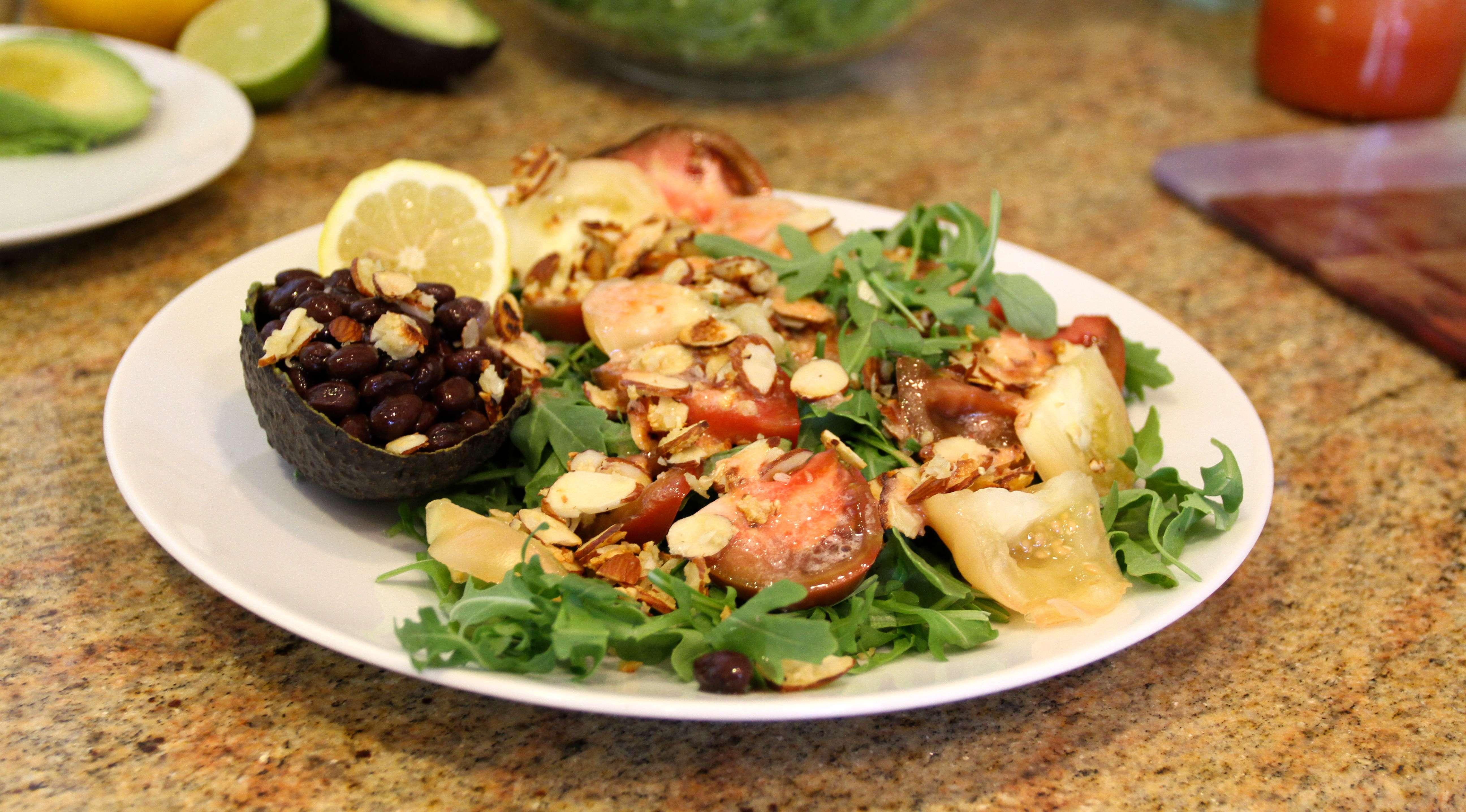 Arugula Toasted Almond Salad With Black Beans