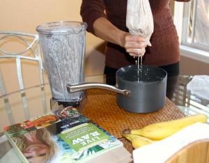 Squeezing almond milk