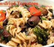 Spicy Pasta with Roasted Vegetables, Olives and Sun-dried Tomatoes