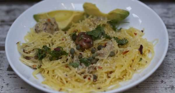 Garlic Spaghetti Squash With Soy Sausage