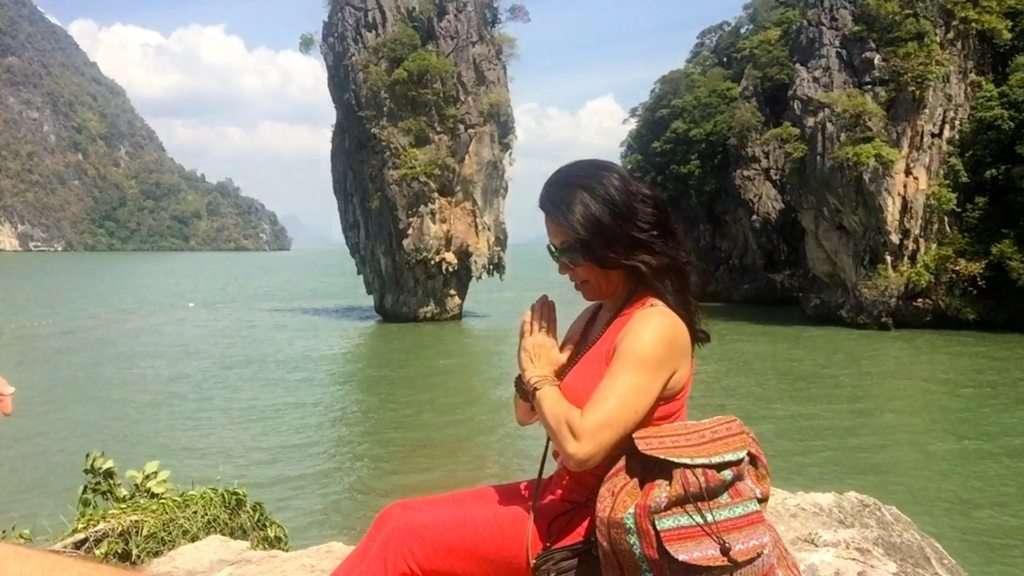 Phoebe Chongchua meditating in Phuket, Thailand